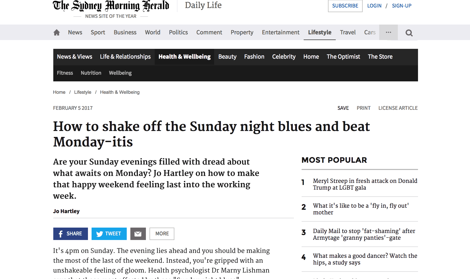 Sydney Morning Herald Article About overcoming the Blues