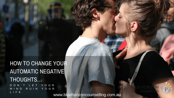 Couple Kissing and Overcoming Negative Thoughts | Blue Horizon Counselling