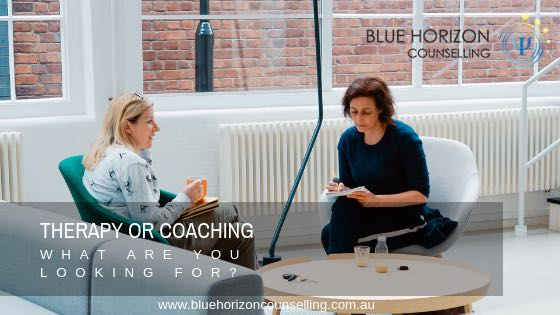 two people discussing therapy or coaching | blue horizon counselling sydney australia