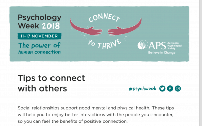 How to connect with others. APS Celebrating Psychology Week 2018!